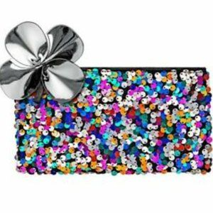 3/$36 - New! Authentic MAC sequin makeup bag / bow